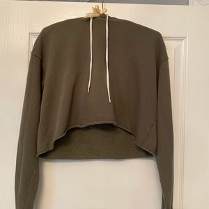 Army green cropped hoodie